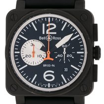 Bell & Ross : BR 03-94 Black and White Carbon Chronograph...