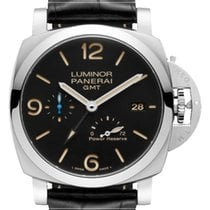 Panerai Luminor 1950 3 Days GMT Power Reserve Automatic Steel 44mm Black Arabic numerals