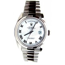 Rolex White gold White Roman numerals 36mm pre-owned Day-Date 36