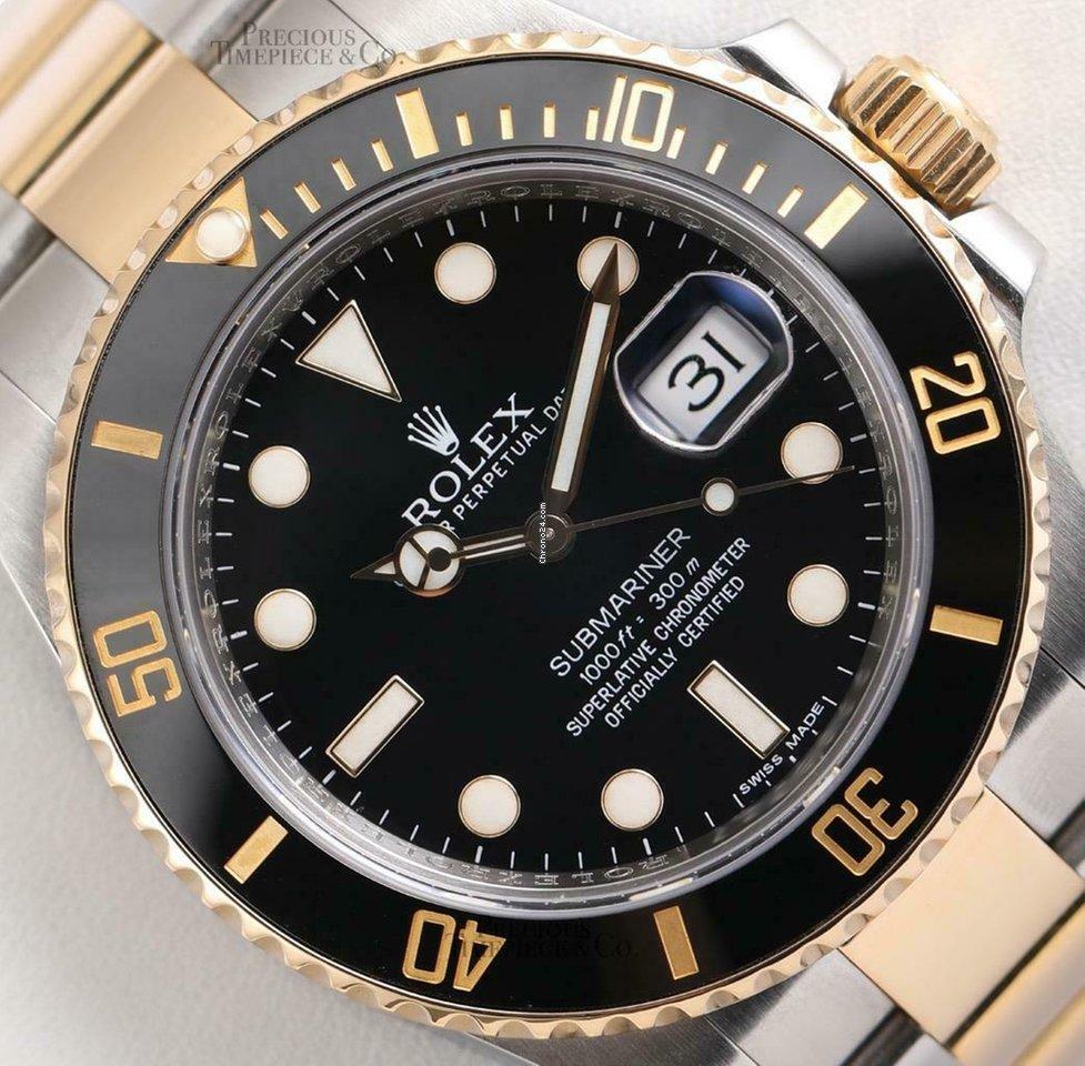 Rolex Submariner 116613ln 18k Yellow Gold Steel Black Ceramic Bezel 40mm Watch