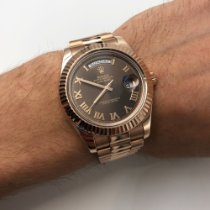 Rolex Rose gold Automatic Black Roman numerals 41mm pre-owned Day-Date II