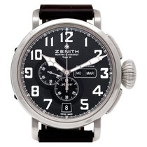 Zenith Pilot Type 20 Annual Calendar pre-owned 47mm Black Date Weekday Month Annual calendar Leather