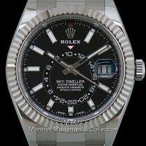 Rolex Sky-Dweller occasion 42mm Noir Date Affichage des mois Calendrier annuel GMT Acier