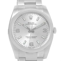 Rolex Oyster Perpetual Silver Dial Smooth Bezel Watch 114200...