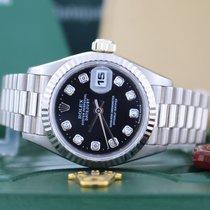 Rolex President Datejust Ladies Original Diamond Black Dial...