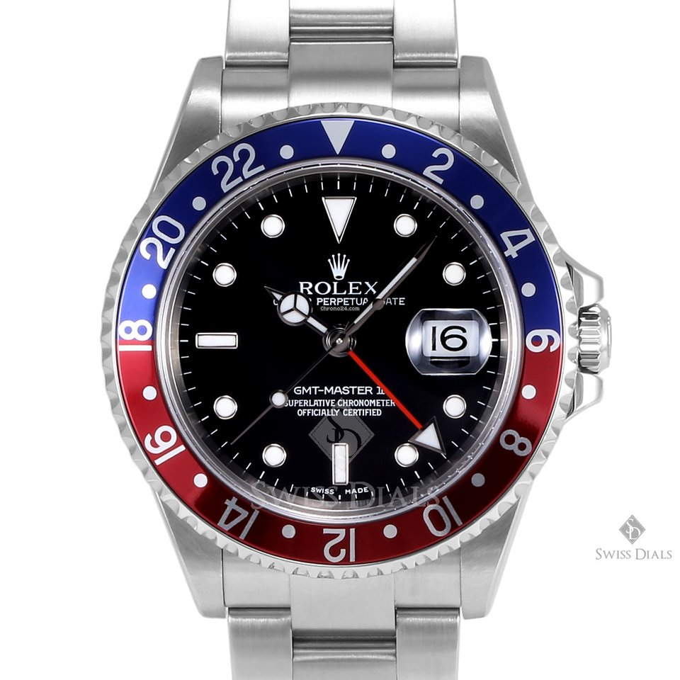 Rolex GMT,Master II Stainless Steel Black Dial Blue and Red 24hr Bezel  Oyster Band No Holes Case