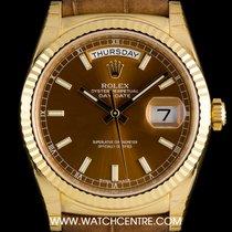 Rolex 18k Y/Gold Unworn O/P Cognac Baton Dial Day-Date B&P...