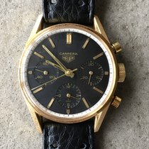 Heuer Yellow gold Manual winding Black No numerals 35.5mm pre-owned