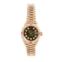 Rolex Ladies 18K Gold President- Green Vignette Diamond Dial -...