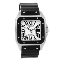 Cartier Santos 100 Stainless Steel Black Rubber Watch W20121u2