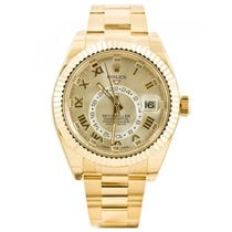 Rolex Yellow gold Automatic Silver Arabic numerals 42mm new Sky-Dweller
