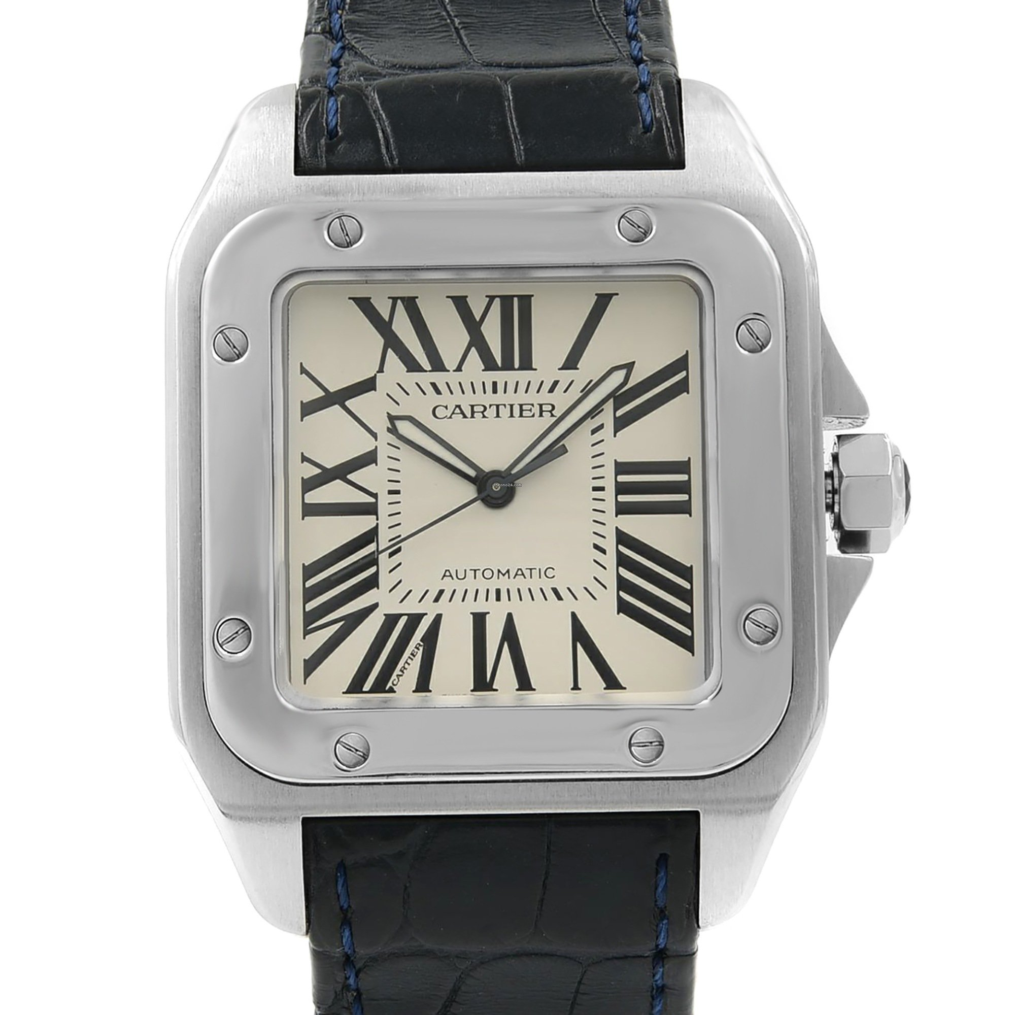 db83cd70c Cartier Santos 100 Silver Roman Dial Steel Automatic Mens -... for $5,399  for sale from a Trusted Seller on Chrono24