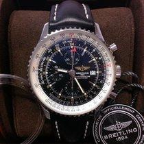 Breitling Navitimer World подержанные 46mm Черный Дата GMT/две час.зоны Телячья кожа