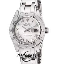 Rolex Lady-Datejust Pearlmaster Oro blanco 29mm Blanco Romanos