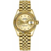 Rolex Lady-Datejust Zuto zlato 28mm Boja šampanjca Bez brojeva