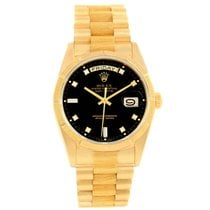 Rolex Day-date President Yellow Gold Black Diamond Dial Mens...