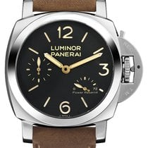 Panerai Luminor 1950 3 Days Power Reserve Aço 47mm Preto Árabes