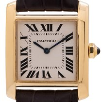 Cartier Tank Française pre-owned 26mm Silver Crocodile skin