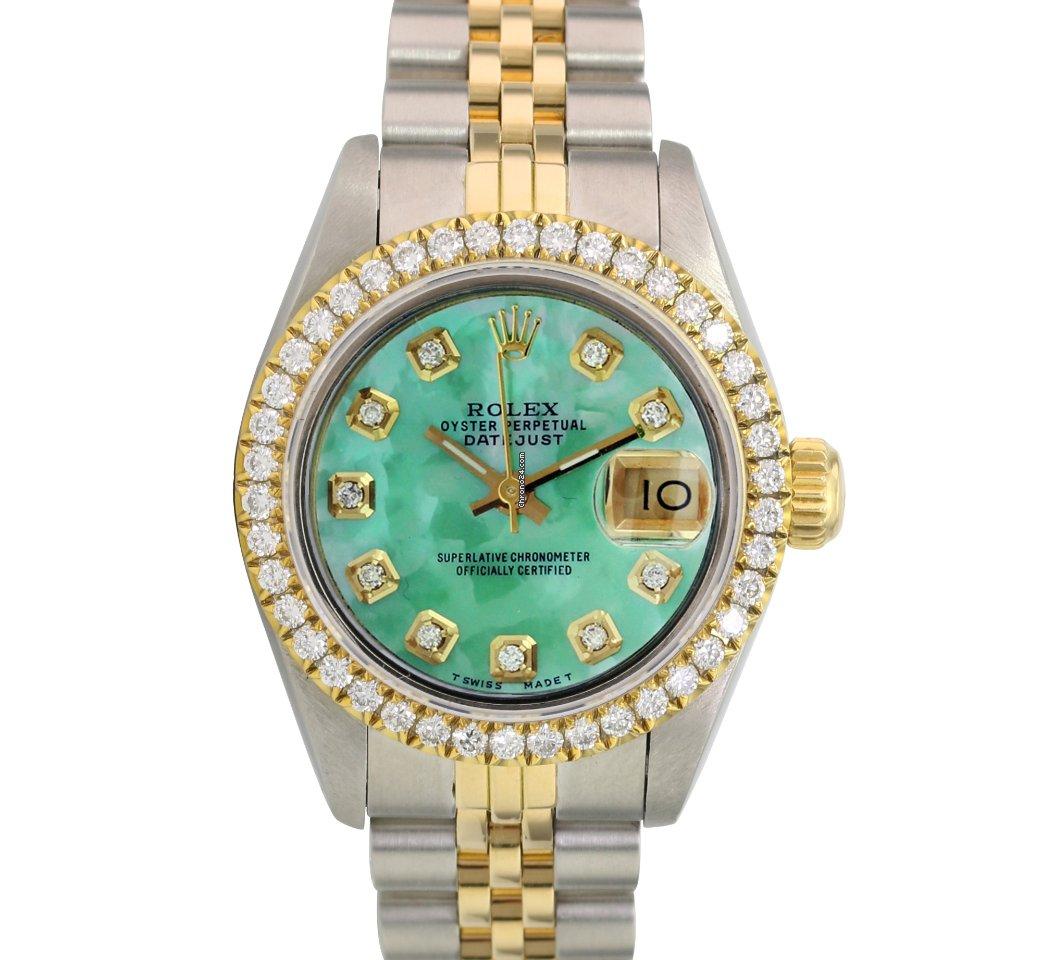 Rolex Prices Uk >> Rolex Lady Datejust Gold Ss Green Mop Diamond U Bezel Watch