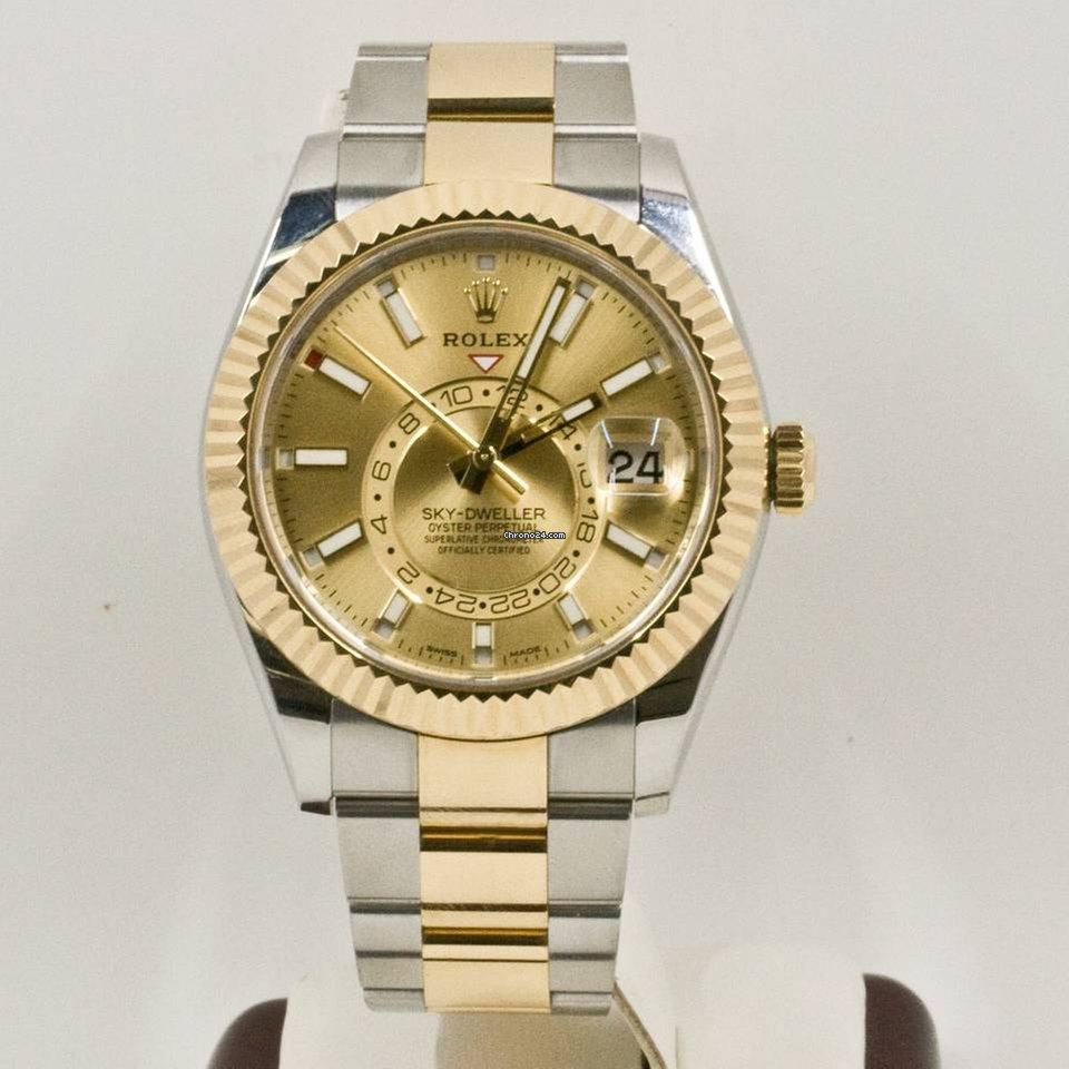 Rolex Sky,Dweller 326933 Champagne Face Rolex Box \u0026 Papers