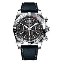 Breitling Chronomat 44 Carbon Dial Crocodile Rubber Mens Watch...