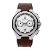 Girard Perregaux Chrono Hawk pre-owned 44mm Silver Chronograph Date Leather