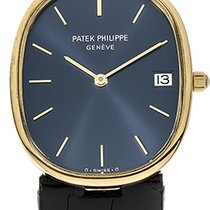 Patek Philippe Golden Ellipse Zuto zlato 32mm Plav-modar Bez brojeva