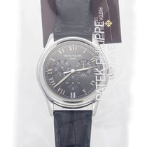 Patek Philippe Platinum Automatic Grey Roman numerals 37mm pre-owned Annual Calendar