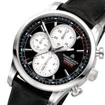 Maurice Lacroix Pontos Chronographe Rétro Staal 44mm Zwart Geen cijfers