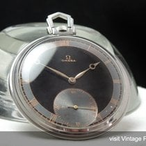 Omega Art Deco Pocket Watch with Black Two Tone Dial Vintage