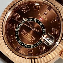 Rolex Sky-Dweller rose gold chocolate Arabic dial with strap