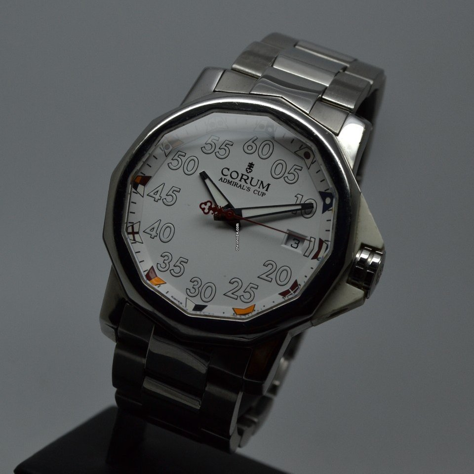 Corum Admiral's Cup Competition 40 White Steel FULL SET