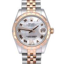 Rolex Lady-Datejust rabljen 31mm Sedef-biserast Datum, nadnevak Zlato/Zeljezo