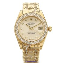 Rolex Pearlmaster pre-owned 34mm Champagne Date Yellow gold