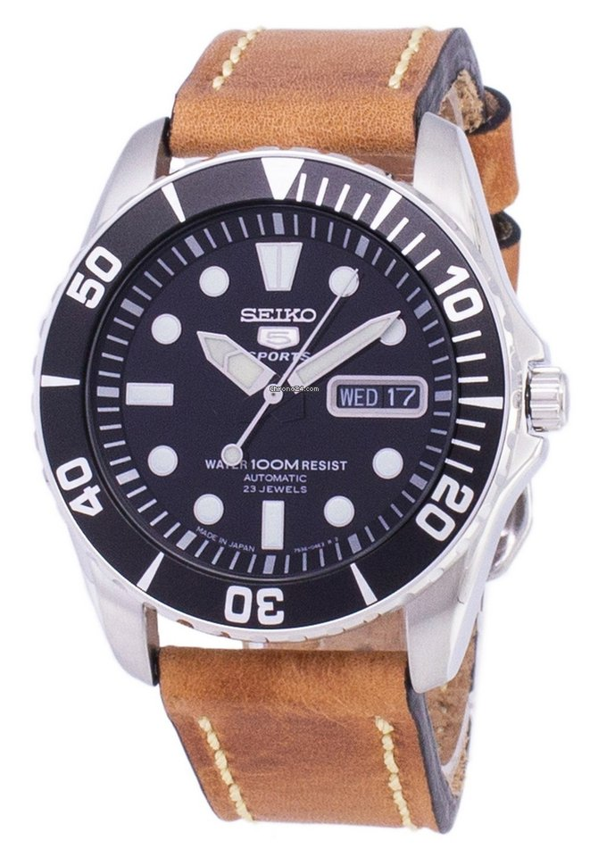 Seiko 5 Sports SNZF17J1 LS17 Automatic Japan Made Brown Leather Strap Men's Watch