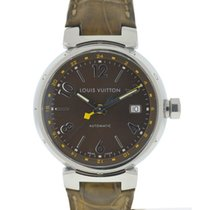 Louis Vuitton Tambour Stainless Steel Leather Strap Automatic...