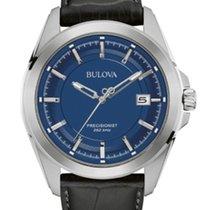 Bulova PRECISIONIST Date Steel Blue Dial Black Leather 43mm96B257