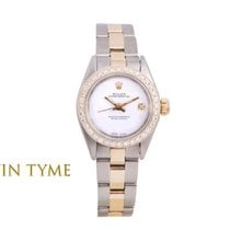Rolex Oyster Perpetual Ouro/Aço 24mm Branco