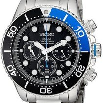 Seiko SSC017 Men's Solar Chronograph 200m Divers Black Dial...