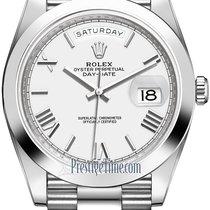 Rolex Day-Date 40 Platine 40mm Blanc Romains