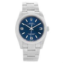 Rolex No-date Blue Dial Domed Bezel Mens Watch 116000 Box Card