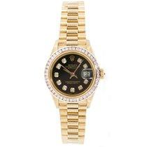 Rolex Lady-Datejust Or jaune 26mm Noir