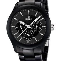 Festina Ceramic Quartz Black 40mm new