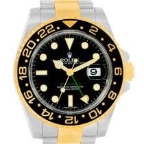 Rolex Gmt Master Ii Yellow Gold Steel Black Dial Mens Watch...