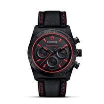 Tudor FASTRIDER BLACK SHIELD Red Chrono Automatic Leather...