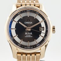 Omega Rose gold Automatic Brown 41mm pre-owned De Ville Hour Vision