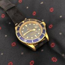 Rolex Submariner Date gebraucht 40mm Blau Datum Leder