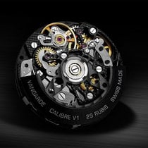 Vangarde Steel 42mm Automatic Chrono black skeleton squelette noir design new
