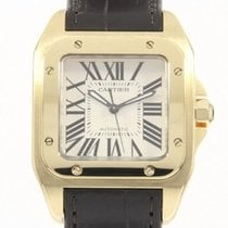 Cartier Yellow gold Automatic White Roman numerals 38mm pre-owned Santos 100