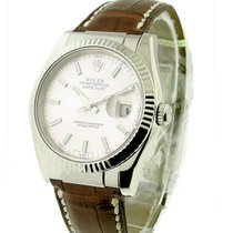 Rolex Used 116139 Mens Datejust - White Gold on Strap 116139 -...